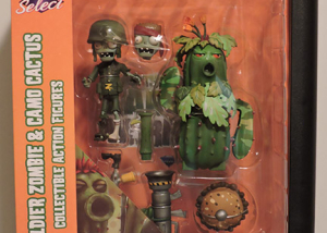 Plants vs Zombies Diamond Select – Foot Soldier Zombie & Camo Cactus Action Figures